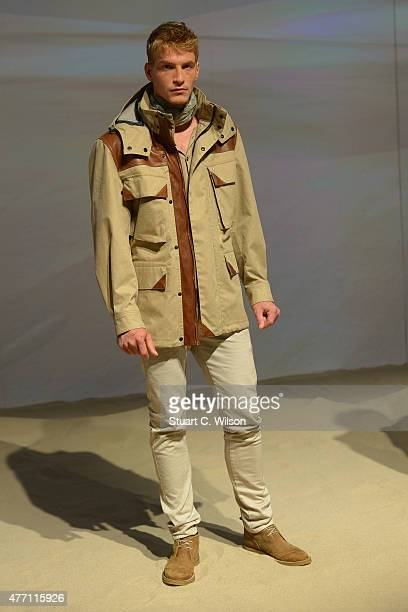 A model poses at the Belstaff presentation during The London Collections Men SS16 on June 14 2015 in London England