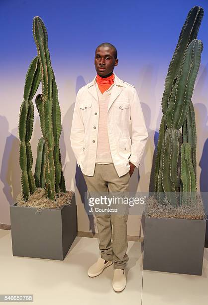 A model poses at the Brett Johnson Collection Presentation during New York Fashion Week Men's S/S 2017 at Skylight Clarkson Sq on July 12 2016 in New...