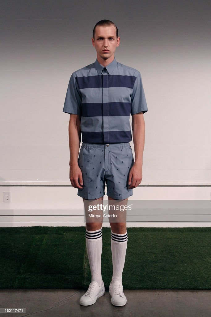 A model poses at the Carlos Campos presentation during MADE Fashion Week Spring 2014 at Milk Studios on September 8, 2013 in New York City.