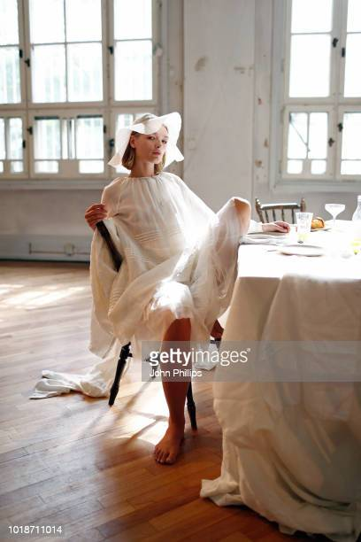 A model poses at the Cathrine Hammel show during Oslo Runway SS19 at Bankplassen 4 on August 14 2018 in Oslo Norway