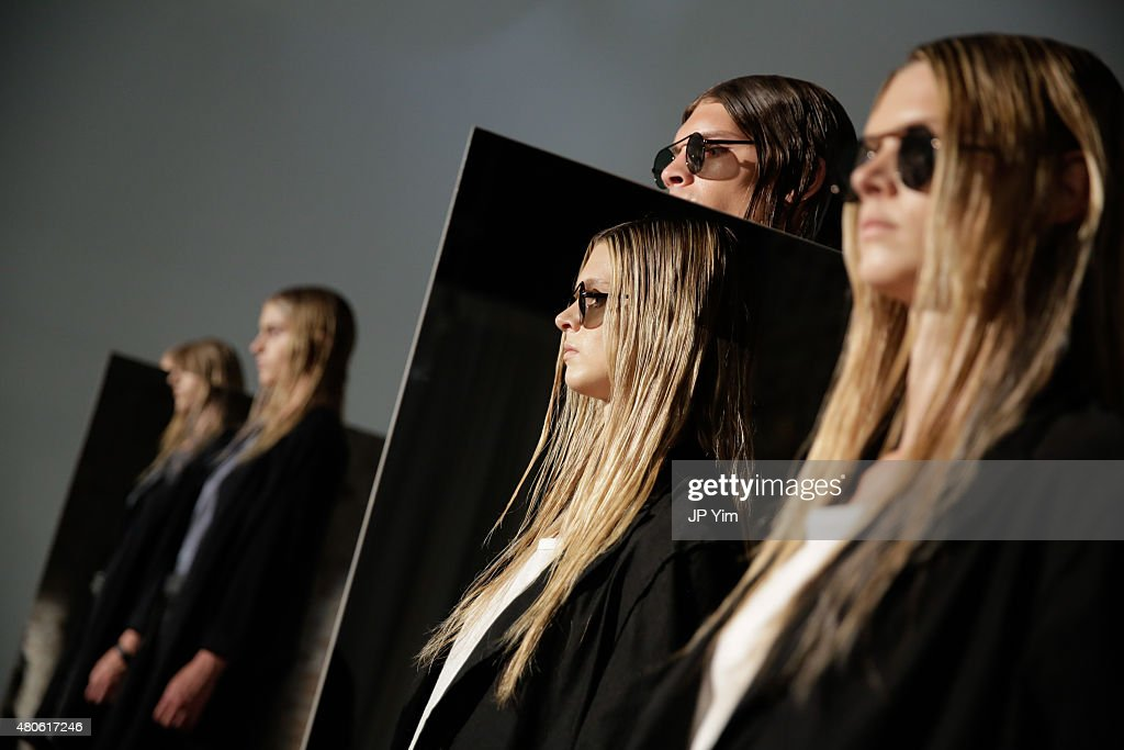 A model poses at the Chapter Presentation during New York Fashion Week: Men's S/S 2016 at Industria Superstudio on July 13, 2015 in New York City.