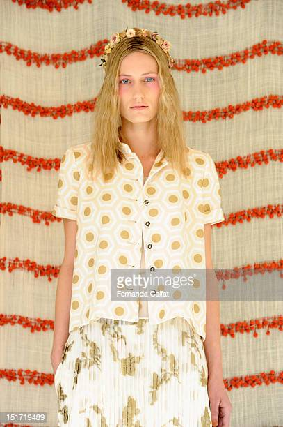 A model poses at the Chris Benz Spring 2013 presentation during MercedesBenz Fashion Week at Avery Fisher Hall Lincoln Center on September 10 2012 in...