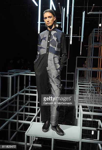 A model poses at the Christopher Raeburn presentation during London Fashion Week Autumn/Winter 2016/17 at the ICA on February 23 2016 in London...