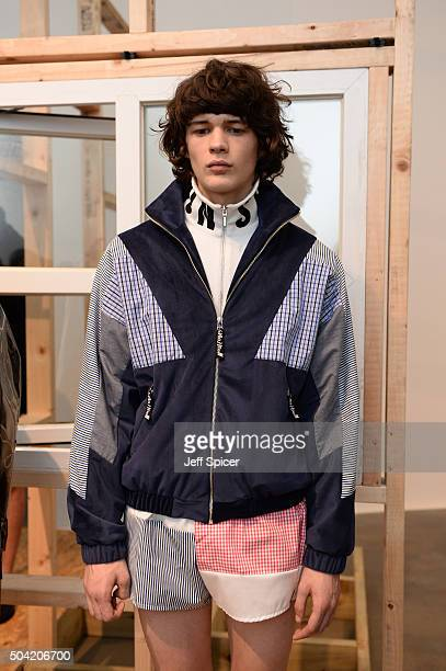 A model poses at the Christopher Shannon presentation during The London Collections Men AW16 at the Alison Jacques Gallery on January 9 2016 in...
