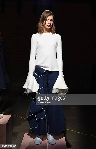 A model poses at the Claudia Li presentation during New York Fashion Week Women's Fall/Winter 2016 at ArtBeam on February 10 2016 in New York City