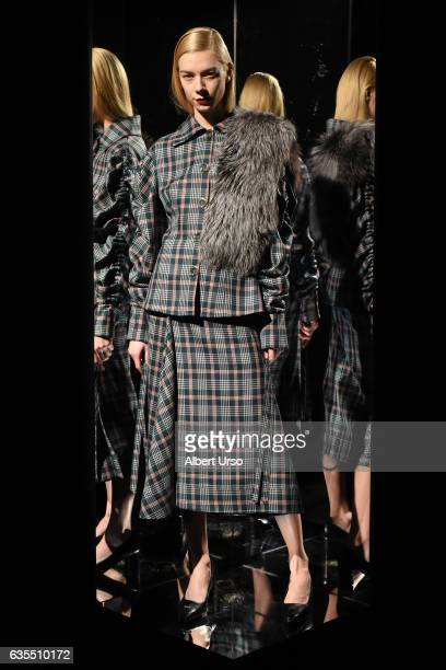 A model poses at the Claudia Li presentation during New York Fashion Week at ArtBeam on February 14 2017 in New York City