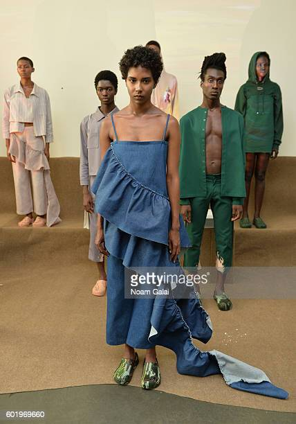 A model poses at the Collina Strada fashion show during New York Fashion Week September 2016 at Pier 59 Studios on September 10 2016 in New York City