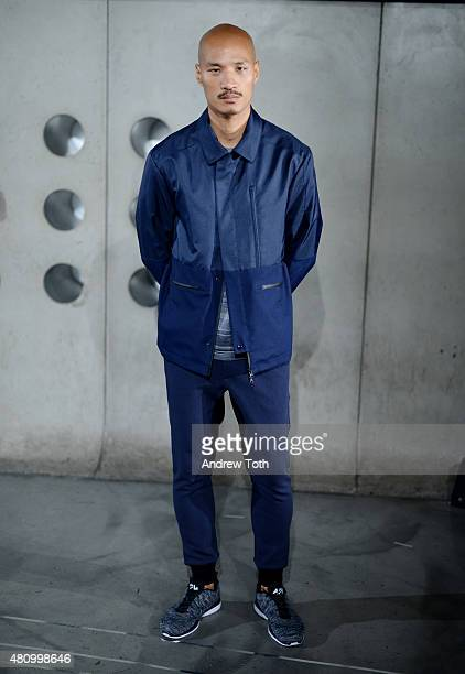 A model poses at the Craft Atlantic presentation during New York Fashion Week Men's S/S 2016 at Hotel Americano on July 16 2015 in New York City