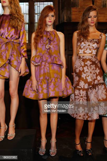 A model poses at the Cynthia Rowley presentation during MercedesBenz Fashion Week Spring 2014 at The Highline Hotel on September 7 2013 in New York...