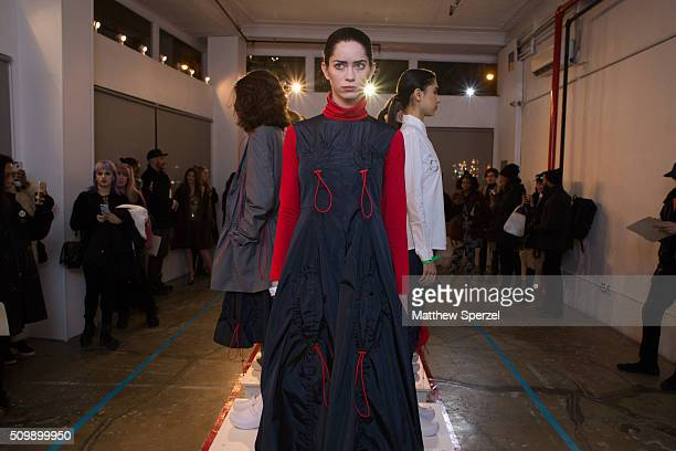 A model poses at the Damnsel 'Garmeoplasty' presentation during Fall 2016 New York Fashion Week on February 12 2016 in New York City