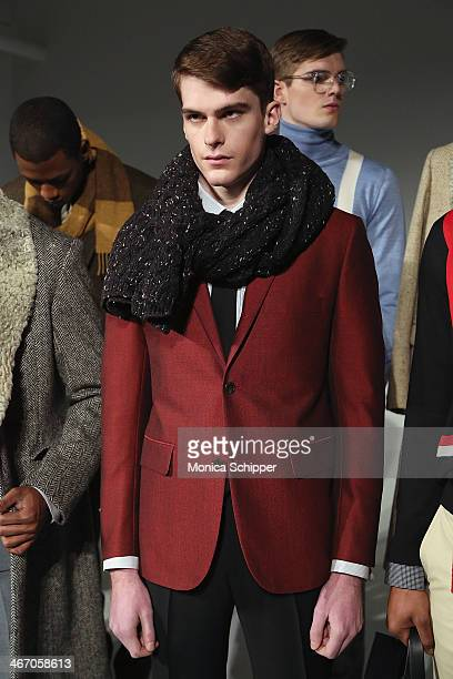 A model poses at the David Hart presentation at Industria Studios on February 5 2014 in New York City