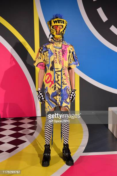 Model poses at the DB Berdan DiscoveryLAB during London Fashion Week September 2019 at the BFC Designer Showrooms on September 17, 2019 in London,...