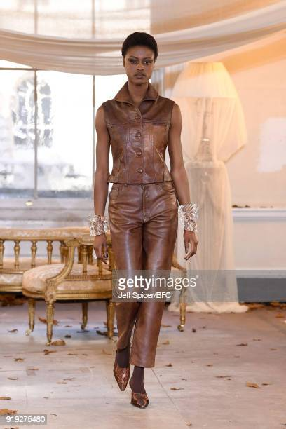 A model poses at the Dorateymur Presentation during London Fashion Week February 2018 at Somerset House on February 17 2018 in London England