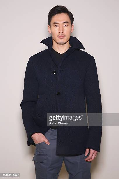 Model poses at the EFM Autumn/Winter 2016 Men's Presentation at Skylight at Clarkson Sq on February 2, 2016 in New York City.