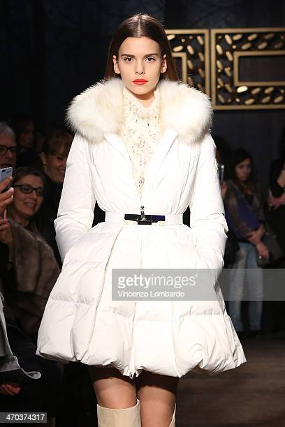 A model poses at the Elisabetta Franchi Presentation during Milan Fashion Week Womenswear Autumn/Winter 2014 on February 19 2014 in Milan Italy
