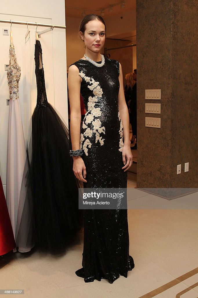 A model poses at the Ethical Shopping Event hosted by Reem Acra at Reem Acra on December 19, 2013 in New York City.