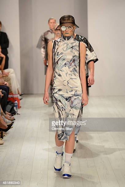 A model poses at the Franziska Michael show during the MercedesBenz Fashion Week Spring/Summer 2015 at Erika Hess Eisstadion on July 9 2014 in Berlin...