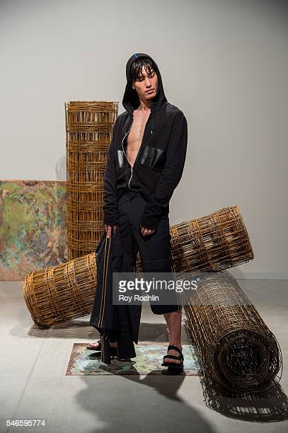 Model poses at the Garciavelez presentation during New York Fashion Week: Men's S/S 2017 at Skylight Clarkson Sq on July 12, 2016 in New York City.