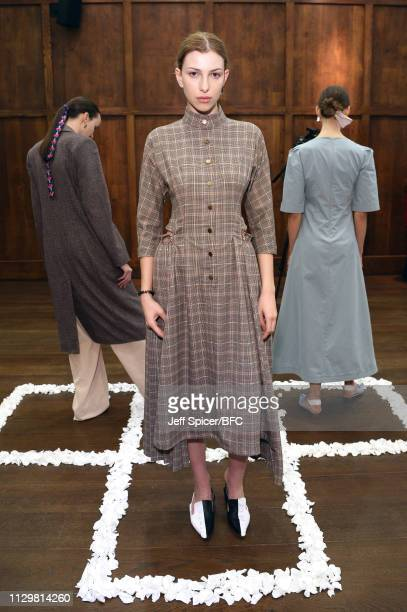 A model poses at the Gayeon Lee Presentation during London Fashion Week February 2019 on February 15 2019 in London England