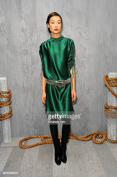 A model poses at the HANLEY MELLON Fall/Winter 2015 Collection Presentation at Hudson Mercantile on February 12 2015 in New York City