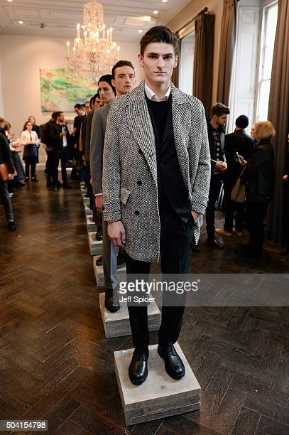 A model poses at the Hardy Amies presentation during The London Collections Men AW16 at The Arts Club on January 9 2016 in London England