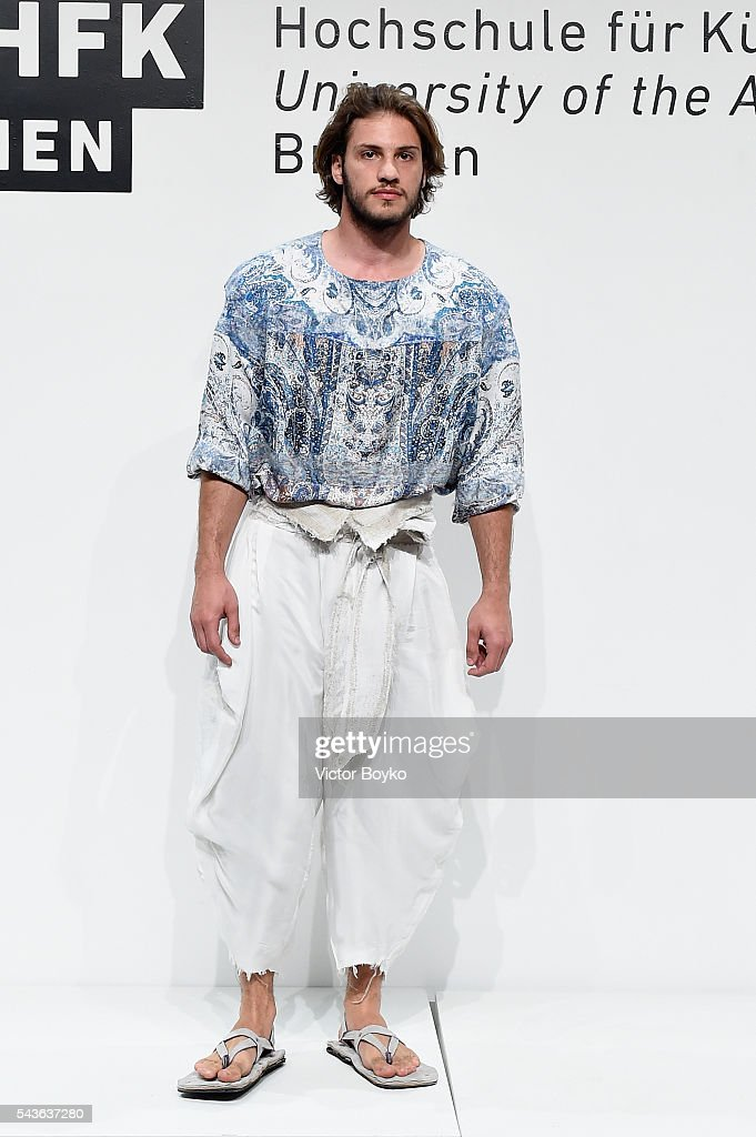 A model poses at the HFK Bremen (Acht. Graduate Show & Exhibition) show during the Mercedes-Benz Fashion Week Berlin Spring/Summer 2017 at Stage at me Collectors Room on June 29, 2016 in Berlin, Germany.