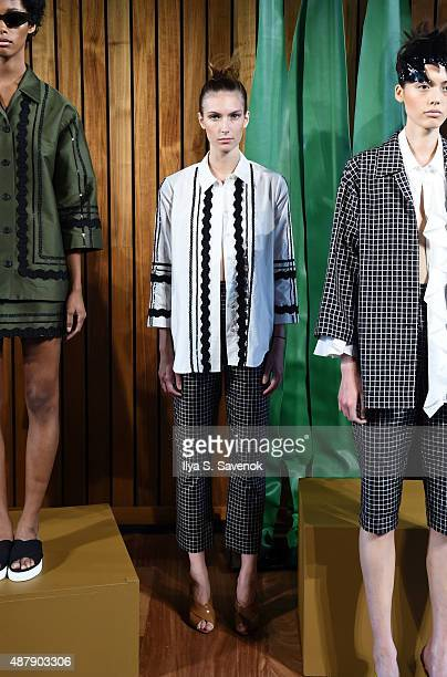A model poses at the Isa Arfen Presentation during MADE Fashion Week Spring 2016 at The Standard Hotel on September 12 2015 in New York City