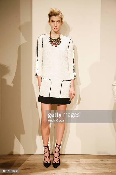 A model poses at the JCrew Fall 2013 fashion presentation during MercedesBenz Fashion Week at The Studio at Lincoln Center on February 12 2013 in New...