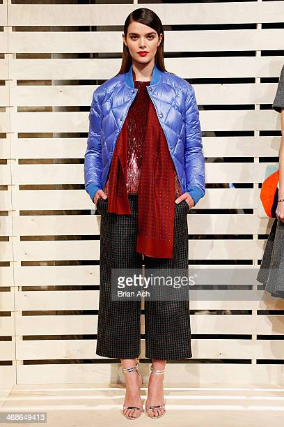 A model poses at the JCrew presentation during MercedesBenz Fashion Week Fall 2014 at The Pavilion at Lincoln Center on February 11 2014 in New York...