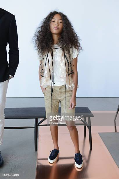 A model poses at the JCrew presentation during New York Fashion Week September 2016 at Spring Studios on September 11 2016 in New York City
