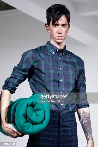 A model poses at the John Bartlett fall 2012 fashion show during MercedesBenz Fashion Week at Milk Studios on February 9 2012 in New York City