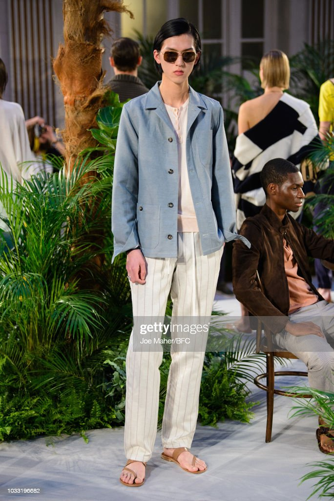 A model poses at the Johnstons of Elgin presentation during London Fashion Week September 2018 at Waldorf Hotel, on September 14, 2018 in London, England.