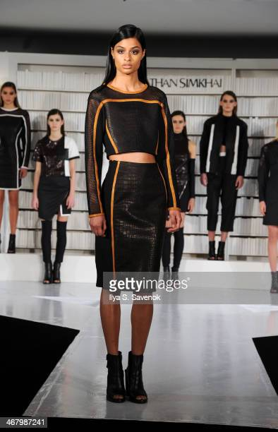 A model poses at the Jonathan Simkhai presentation during MADE Fashion Week Fall 2014at Milk Studios on February 8 2014 in New York City