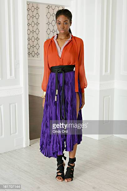 A model poses at the Juan Carlos Obando fall 2013 presentation during MercedesBenz Fashion Week on February 14 2013 in New York City