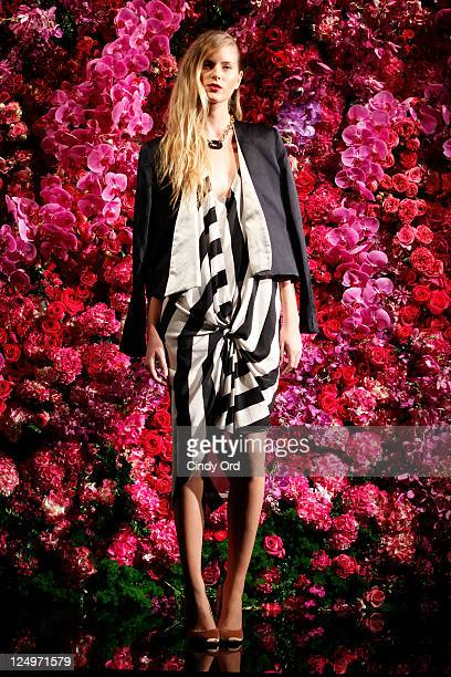 A model poses at the Juan Carlos Obando Spring 2012 presentation during Mercedes Benz Fashion Week at The Box at Lincoln Center on September 14 2011...