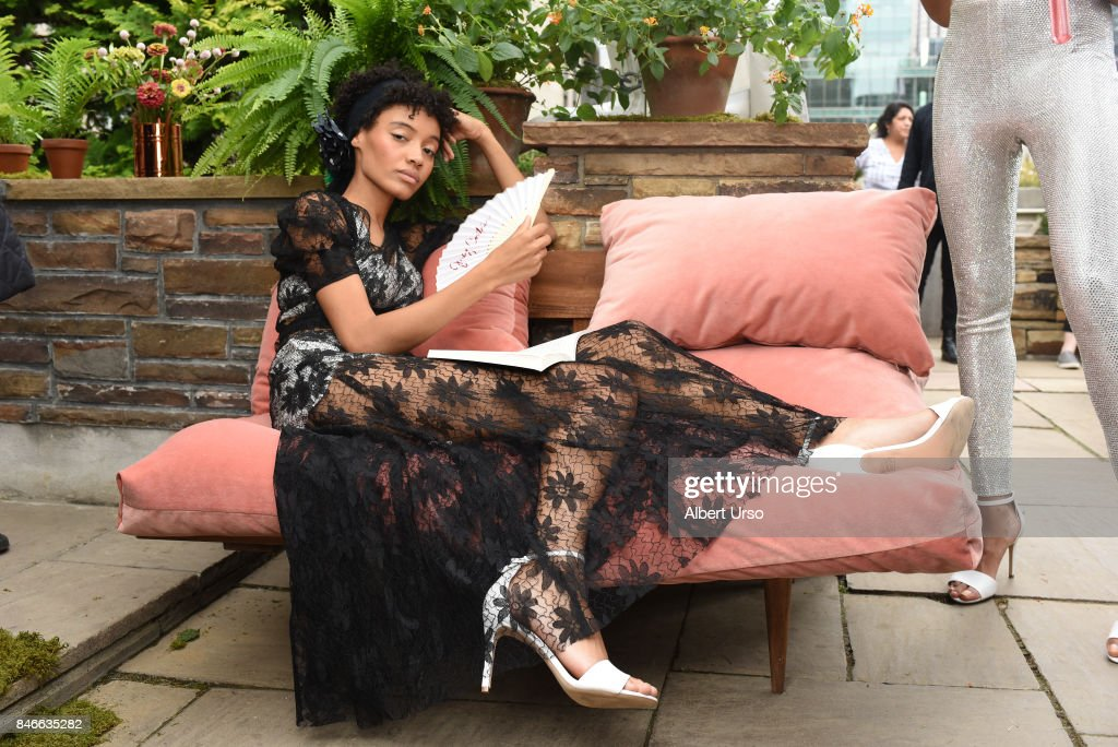 A model poses at the Juicy Couture presentation during New York Fashion Week at 620 Loft & Garden on September 13, 2017 in New York City.