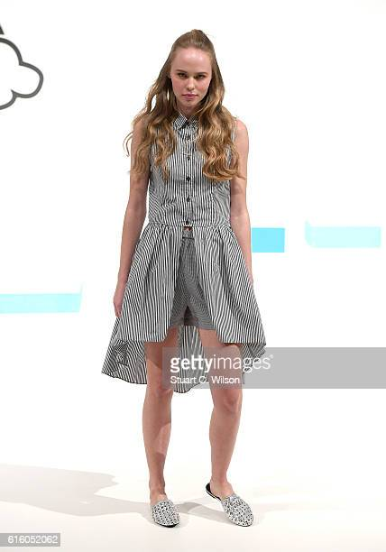 A model poses at the KAGE presentation during Fashion Forward Spring/Summer 2017 at the Dubai Design District on October 21 2016 in Dubai United Arab...