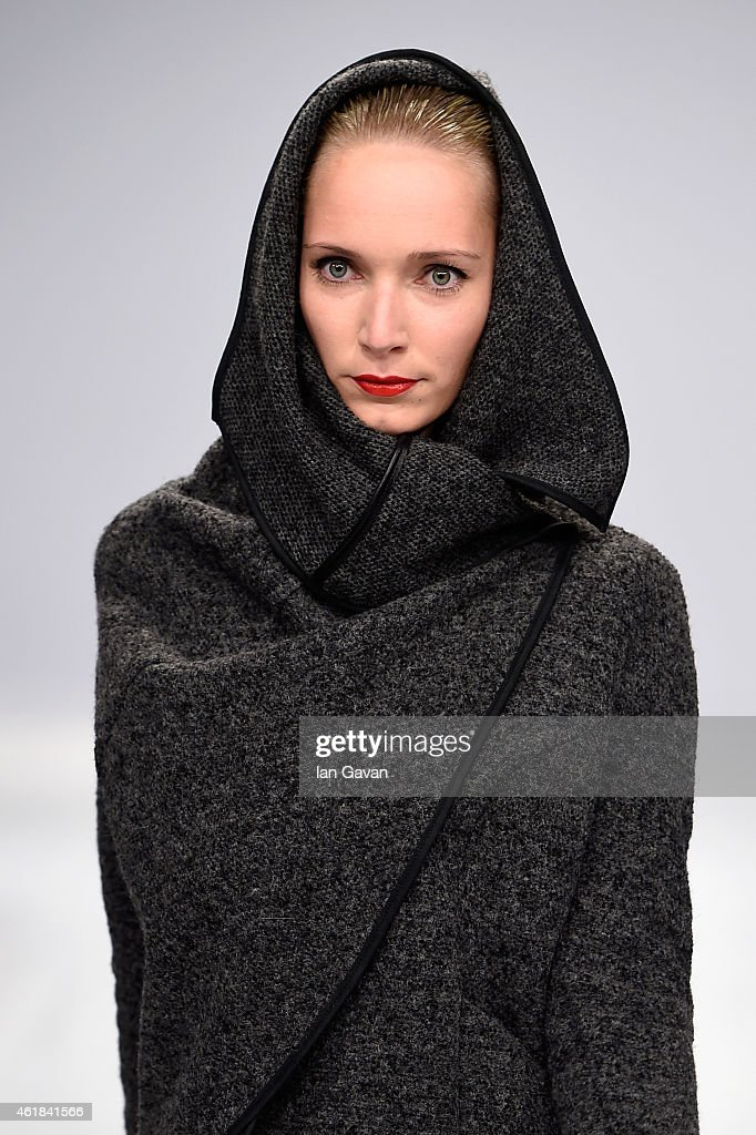 A model poses at the Kaseee show during the Mercedes-Benz Fashion Week Berlin Autumn/Winter 2015/16 at Brandenburg Gate on January 20, 2015 in Berlin, Germany.