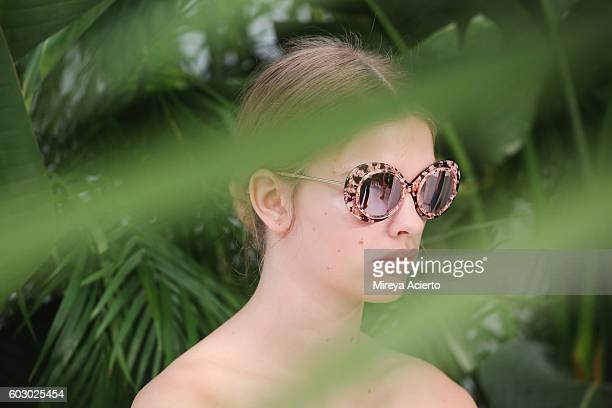 A model poses at the Krewe New Orleans Eyewear presentation during MADE Fashion Week September 2016 at Milk Studios on September 11 2016 in New York...