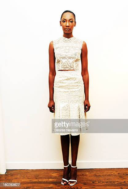 A model poses at the Laquan Smith presentation during MercedesBenz Fashion Week on September 10 2013 in New York United States