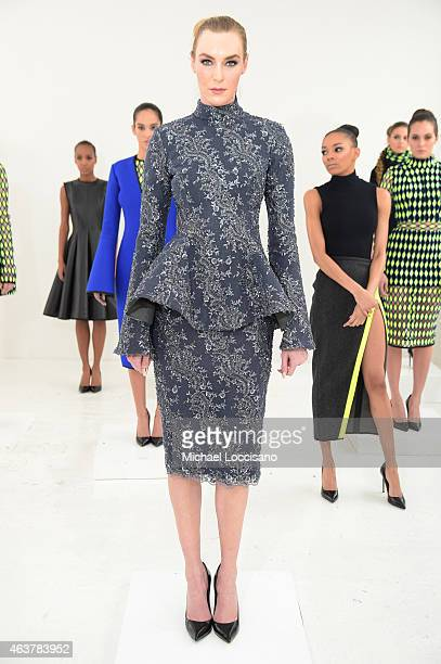 A model poses at the Laquan Smith Presentation during MercedesBenz Fashion Week Fall 2015 at Drift Studios on February 18 2015 in New York City