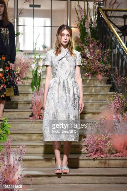 Models pose at the Malene Oddershede Bach presentation during London Fashion Week September 2018 at Ennismore Session House on September 18 2018 in...