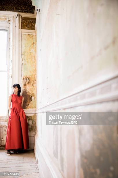 A model poses at the Merchant Archive Presentation during London Fashion Week February 2018 on February 20 2018 in London England