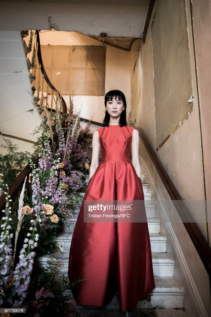 A model poses at the Merchant Archive Presentation during London Fashion Week February 2018 on February 20, 2018 in London, England.