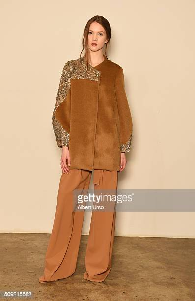 A model poses at the Mi Jong Lee presentation during New York Fashion Week Women's Fall/Winter 2016 on February 9 2016 in New York City