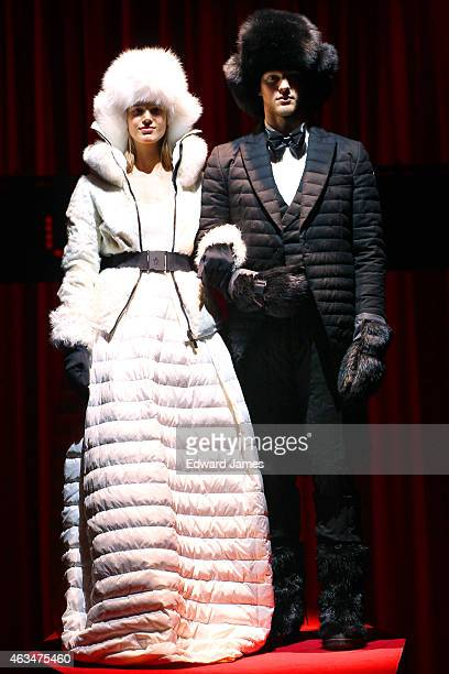 Model poses at the Moncler Grenoble fashion show at the Duggal Greenhouse on February 14, 2015 in the Brooklyn borough of New York City.