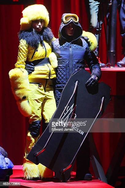 Model poses at the Moncler Grenoble fashion show during Mercedes-Benz Fashion Week Fall 2015 at the Duggal Greenhouse on February 14, 2015 in the...