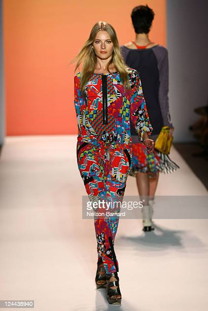 A model poses at the Nicole Miller Spring 2012 fashion show during Mercedes Benz Fashion Week at Lincoln Center on September 9 2011 in New York City