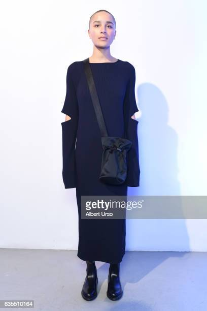 A model poses at the Nomia presentation during New York Fashion Week at The Supermarket on February 14 2017 in New York City