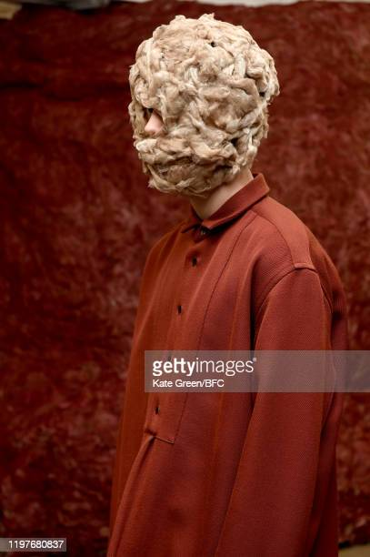 A model poses at the Omar Afridi Presentation during London Fashion Week Men's January 2020 at the Dray Walk Gallery on January 05 2020 in London...
